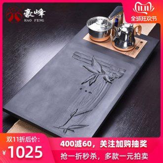 HaoFeng ceramic tea set suit household sharply stone solid wood tea tray of a complete set of kung fu tea tea teapot teacup
