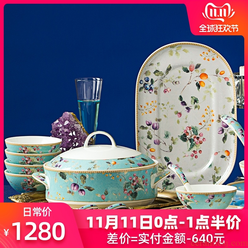 , the new Chinese style of jingdezhen ceramic tableware suit dishes high - grade ipads China porcelain creative dishes suit household