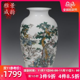 Archaize of jingdezhen ceramics powder enamel heavy industry landscape vase Zhang Bingxiang sitting room adornment handicraft furnishing articles