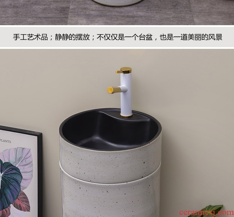 Contracted and I floor pillar basin integrated small family ceramic household lavatory is suing patio lavabo
