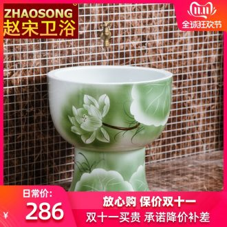 Jingdezhen large round mop pool one mop mop pool lotus pool balcony for wash cloth mop basin is suing the pool