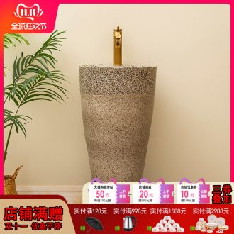 Ceramic column type lavatory balcony column basin integrated household is suing patio floor sink to restore ancient ways