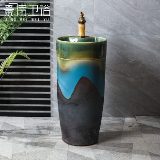 JingWei is suing floor pillar basin ceramic column type lavatory vertical one balcony sink basin of restoring ancient ways