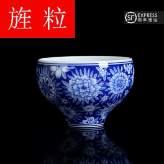 Continuous up with jingdezhen ceramic grain green was hand - made blue blossom put sample tea cup home of kung fu tea cups