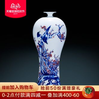 Jingdezhen ceramics hand - made of blue and white porcelain vase furnishing articles beauty bottles of Chinese style household adornment large living room