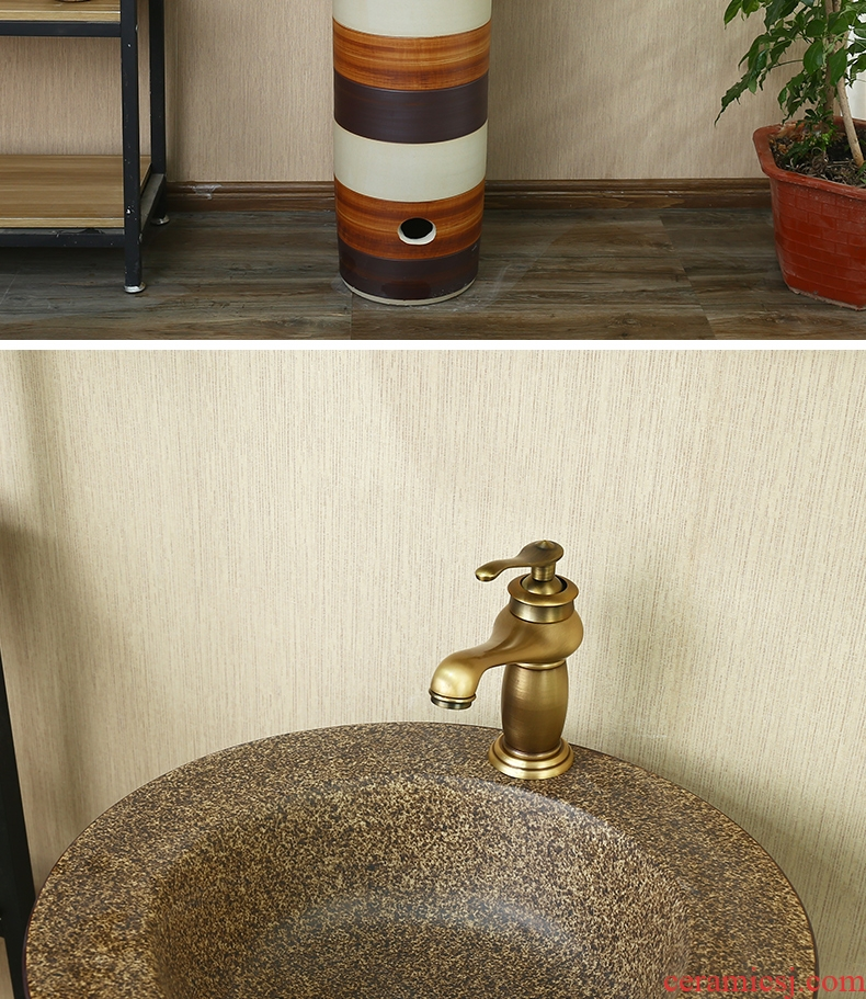 Ceramic art pillar type lavatory sink a whole balcony floor toilet basin of the basin that wash a face wash to the column