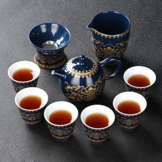 Four - walled yard modern household ji blue glaze kung fu tea set your up manual ceramic teapot tea tea set fair keller