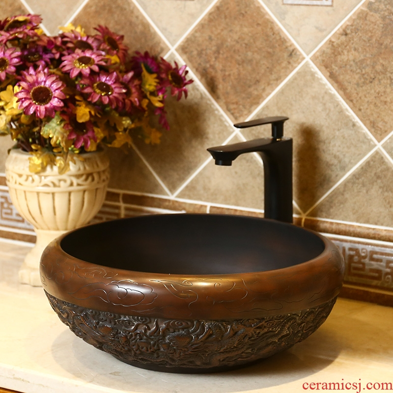Basin of Chinese style restoring ancient ways the lavatory carved ceramic art stage archaize home toilet lavabo single Basin on stage