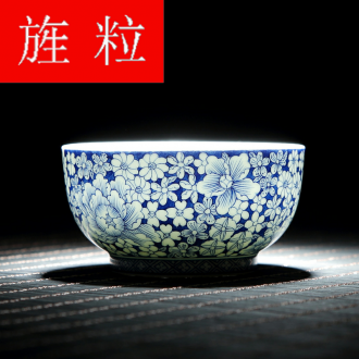 Continuous up with jingdezhen ceramic grain green was single hand - made master cup of blue and white porcelain tea cups of tea cup, kung fu tea cups