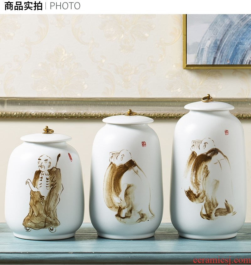 Jingdezhen ceramic vase furnishing articles hand - made zen new Chinese style dried flowers, flower arranging storage tank cover pot sitting room adornment