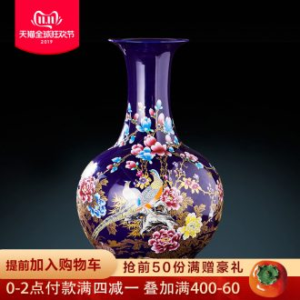 Jingdezhen ceramics big blue vase furnishing articles of Chinese style living room TV cabinet to slip in a large decorative arts and crafts