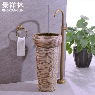 Retro ceramic lavatory floor toilet basin one - piece balcony column basin sinks the post