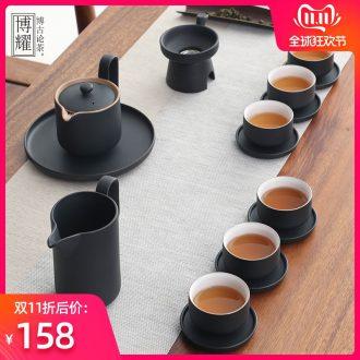 Bo yiu-chee retro coarse pottery kung fu tea set contracted household ceramics hand grasp the teapot tea set gift boxes