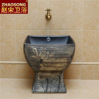 New Chinese style restoring ancient ways ceramic one square mop pool large balcony mop mop pool slot is suing the toilet