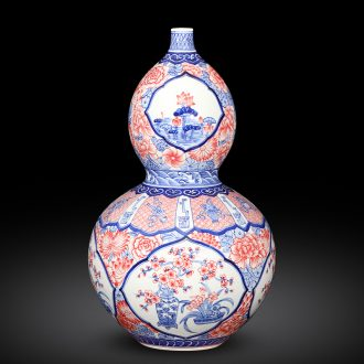 Imitation of qianlong hand - made porcelain of jingdezhen ceramics youligong gourd sweet vase classic Chinese style decoration and furnishing articles