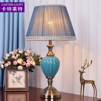 American desk lamp light ceramic contracted and I marriage of bedroom the head of a bed room warm light sweet American creative household decoration