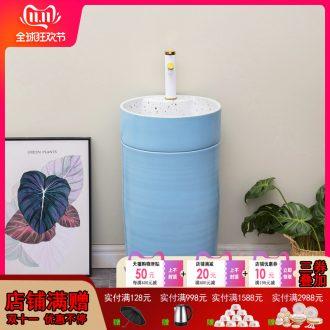 Ceramic basin of pillar type lavatory household small family contracted one - piece floor pillar balcony sink sky blue