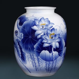 Jingdezhen ceramics hand - made archaize sitting room of large Chinese blue and white porcelain vase furnishing articles home decoration gifts