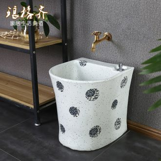 Ceramic art mop pool balcony toilet wash mop pool table control basin floor mop pool large white