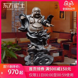 Oriental clay ceramic smiling Buddha maitreya Buddha furnishing articles of Chinese style living room TV cabinet decoration/f from heaven