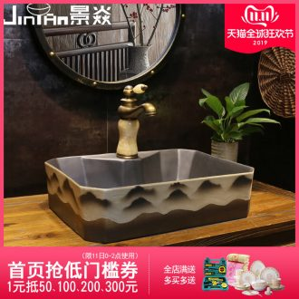 JingYan mountains ghosting art stage basin rectangle ceramic lavatory household of Chinese style restoring ancient ways the sink basin