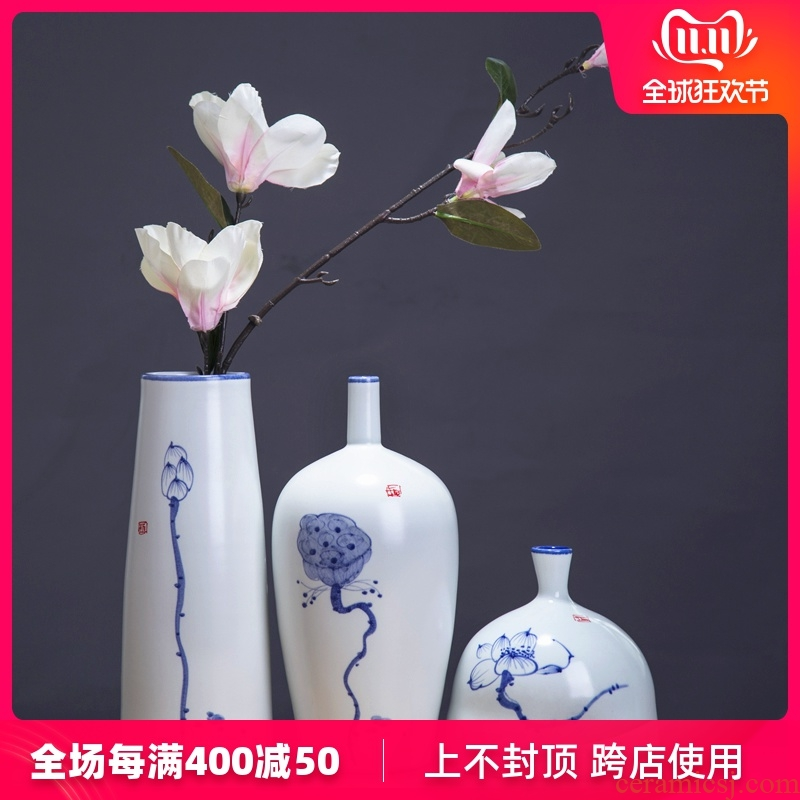 Jingdezhen chinaware lotus flower vase three - piece suit of new Chinese style living room zen flower arrangement home furnishing articles