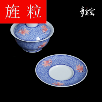 Continuous grain of jingdezhen blue and white hand - made ceramic heavy large three to prevent hot tureen household kung fu tea cups