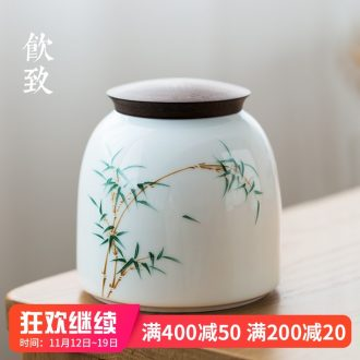 Ultimately responds to the ceramic tea canister large antique seal pot cover wood moisture half jins receives domestic tea caddy fixings