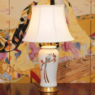 All copper ceramic table lamp LED lamp of bedroom the head of a bed of creative move sitting room hand - made flowers and birds study lamp