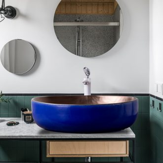 Outside the blue gold within European stage basin elliptical Nordic household contracted wind ceramic lavabo art creative lavatory