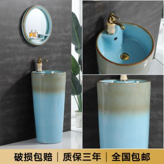Nordic basin of pillar type lavatory sink one balcony column vertical basin ceramic floor is suing