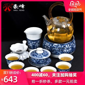 HaoFeng kung fu tea set blue and white hand made ceramic teapot teacup household contracted Chinese tea set gift boxes