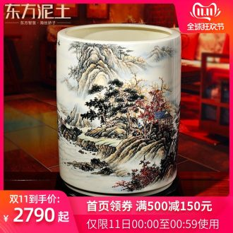 Oriental soil large ceramic landscape pen pen container fights furnishing articles sitting room of Chinese style household decorations put calligraphy and painting