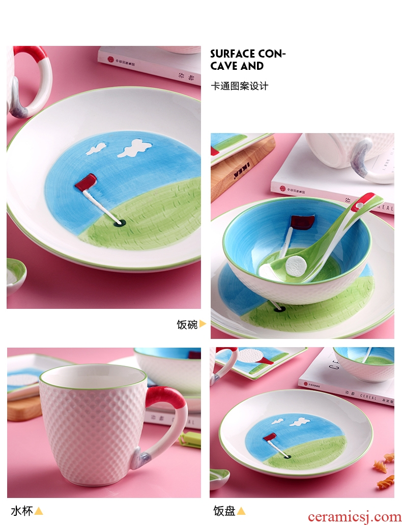 The dishes suit household ceramics tableware Japanese students creative cartoon express children eat bowl dish dish dish