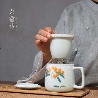 YanXiang fang hand - made loquat office tea set shadow blue mark cup ceramic separation hot tea cup of water glass