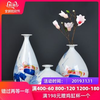 Jingdezhen ceramics hand - made vases ChanCuiQing lotus three - piece flower arranging home furnishing articles sitting room decoration