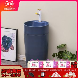 Northern wind column type lavatory basin of ceramic one - piece floor column balcony toilet lavabo contracted household