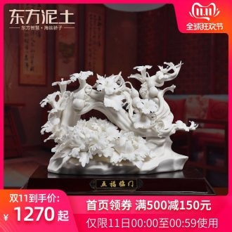Oriental clay ceramic flower is placed what Chinese style living room party decorations version into gifts/five blessings