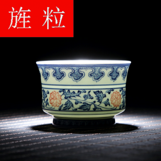 Continuous grain of jingdezhen ceramic checking sample tea cup master cup single cup of blue and white porcelain tea cups, kung fu tea cups