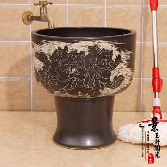 Jingdezhen ceramic art mop pool water - saving conjoined black peony mop pool