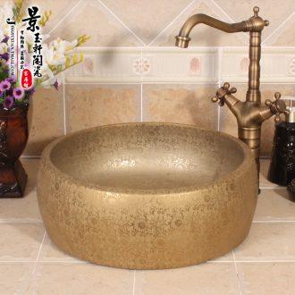 Jingdezhen ceramic lavatory basin basin art on the sink basin birdbath gold - plated waist drum by