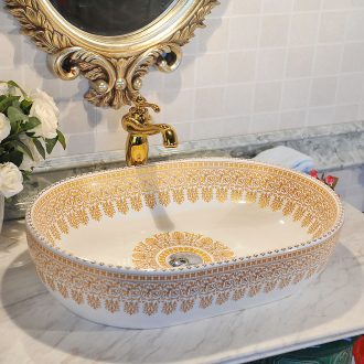 Jingdezhen ceramic art basin gold weeping willows sanitary ware elliptical bowl lavatory basin sink on stage