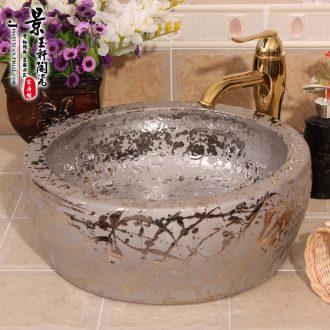 Jingdezhen ceramic waist drum thickening meteor silver plated retro hotel bath lavatory household ware platform basin