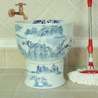 Jingdezhen ceramic art basin of mop mop pool blue and white landscape mop bucket mop mop pool hand - made barrels