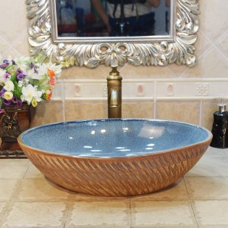 Jingdezhen ceramic lavatory basin basin sink art stage oval blue snowflake glaze up birdbath