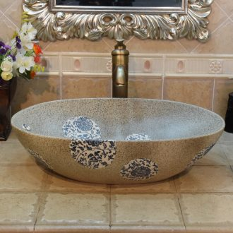 Jingdezhen ceramic lavatory basin basin sink art stage double elliptical put lotus flower POTS overflowing
