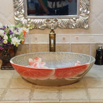 Jingdezhen ceramic lavatory basin basin sink art stage basin basin oval bottom red lotus POTS