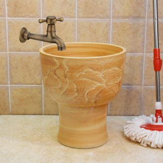 Jingdezhen ceramic 36 cm all yellow lotus carving mop pool mop pool pool sewage pool under the mop bucket