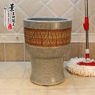 Jingdezhen ceramic art mop pool crack leaves 30 cm conjoined mop bucket of mop bucket mop bucket