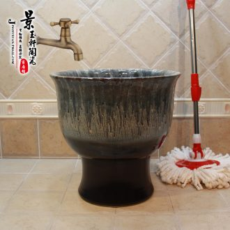 Jingdezhen ceramic up ash black gradient color glaze fission mop bucket mop pool pool mop mop bucket